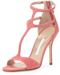 Sandales à talons en daim roses