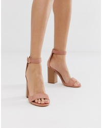 Sandales à talons en daim roses Glamorous