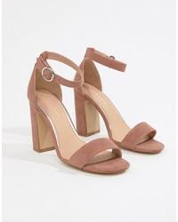 Sandales à talons en daim roses New Look