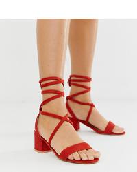 Sandales à talons en daim rouges Glamorous