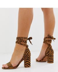 Sandales à talons en daim tabac ASOS DESIGN