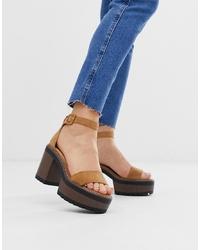 Sandales à talons en daim tabac Glamorous