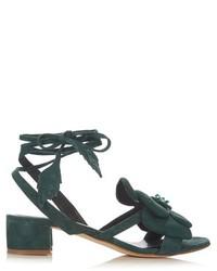 Sandales à talons en daim vert foncé
