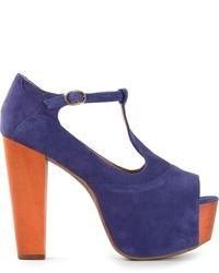 Sandales à talons en daim violettes