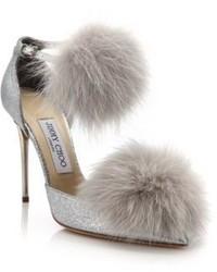 Sandales à talons en fourrure grises