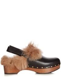 Sandales à talons en fourrure noires
