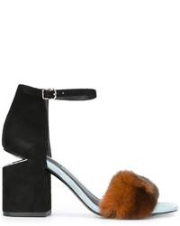 Sandales à talons en fourrure noires Alexander Wang