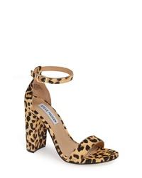 Sandales à talons en poils de veau imprimées léopard marron clair
