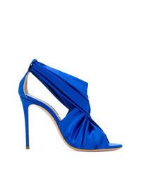 Sandales à talons en satin bleues