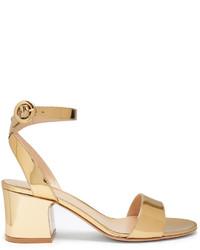 Sandales à talons en satin dorées