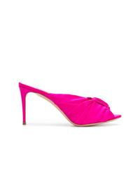 Sandales à talons en satin fuchsia Casadei