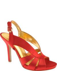 Sandales à talons en satin rouges