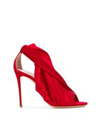 Sandales à talons en satin rouges Casadei