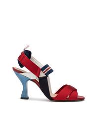 Sandales à talons en satin rouges Fendi