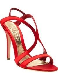 Sandales à talons en soie rouges Alexander McQueen