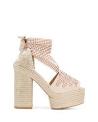 Sandales à talons en toile beiges