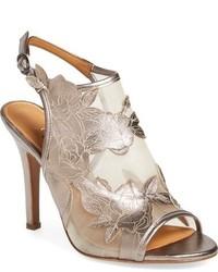Sandales à talons en tulle beiges