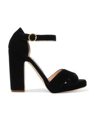 Sandales à talons en velours épaisses noires