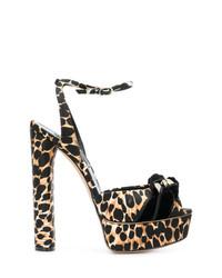 Sandales à talons imprimées léopard marron clair Casadei