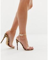 Sandales à talons imprimées léopard transparentes PrettyLittleThing