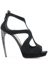 Sandales à talons noires Alexander McQueen