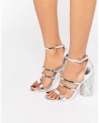 Sandales à talons ornées argentées Asos