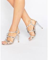 Sandales à talons ornées argentées True Decadence