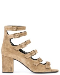 Sandales brunes claires Saint Laurent