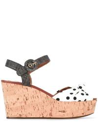 Sandales compensées á pois blanches Dolce & Gabbana