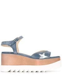 Sandales compensées bleu clair Stella McCartney