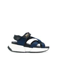 Sandales compensées bleu marine MM6 MAISON MARGIELA