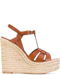 Sandales compensées brunes claires Saint Laurent