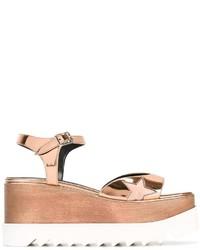 Sandales compensées dorées Stella McCartney
