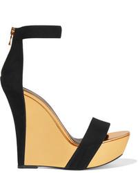 Sandales compensées élastiques noires Balmain