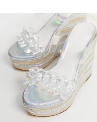 Sandales compensées en caoutchouc transparentes