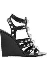 Sandales compensées en cuir à clous noires Balenciaga