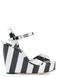Sandales compensées en cuir à rayures horizontales noires et blanches Dolce & Gabbana