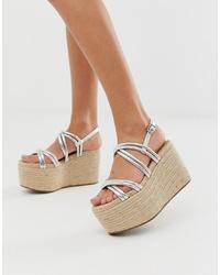 Sandales compensées en cuir argentées ASOS DESIGN