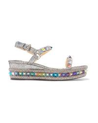 187fe20e61cdfc Acheter sandales compensées en cuir argentées: choisir sandales ...