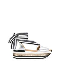 4a3e951937a90d Acheter sandales compensées en cuir argentées Hogan   Mode femmes ...