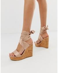 Sandales compensées en cuir beiges ASOS DESIGN