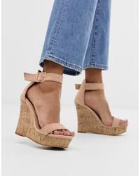 Sandales compensées en cuir beiges Glamorous