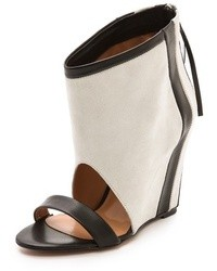 Sandales compensées en cuir blanches et noires IRO