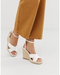 Sandales compensées en cuir blanches ASOS DESIGN