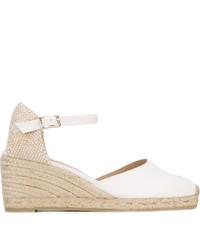 Sandales compensées en cuir blanches Castaner