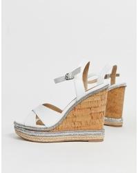 Sandales compensées en cuir blanches Head over Heels by Dune