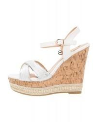 Sandales compensées en cuir blanches Laura Biagiotti