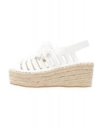 Sandales compensées en cuir blanches LOST INK