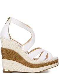 Sandales compensées en cuir blanches Paloma Barceló