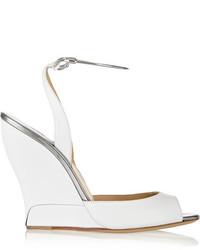 Sandales compensées en cuir blanches Paul Andrew